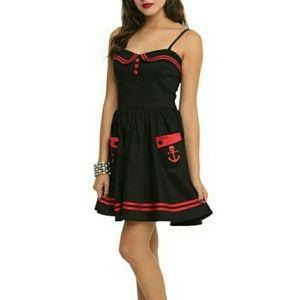 Hell Bunny Vixen Black and Red Skull Mini Dress